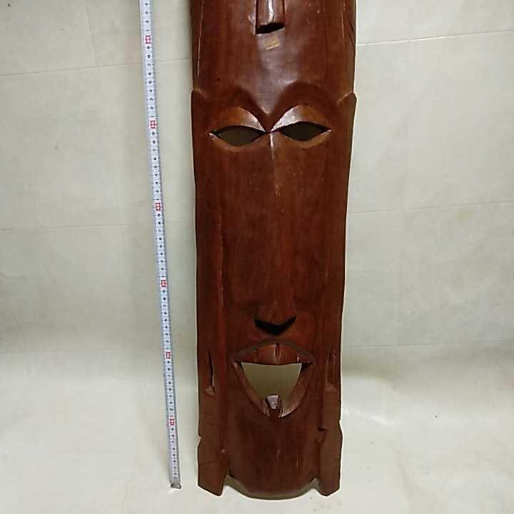 アフリカ ケニア ケニヤ 民芸品 木彫り 木彫 お面 仮面 高さ約93㎝ 詳細不明 ジャンク扱い _画像1