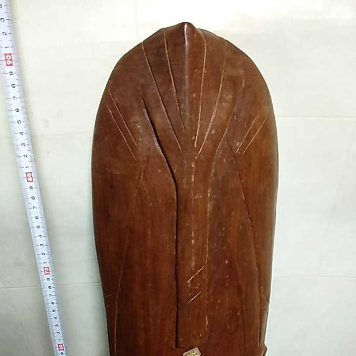 アフリカ ケニア ケニヤ 民芸品 木彫り 木彫 お面 仮面 高さ約93㎝ 詳細不明 ジャンク扱い _画像3