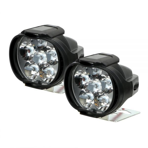 1 ペアオートバイヘッドライト 6500 18k ホワイト超高輝度 6 LED バイクフォグランプ 1200LM LED スポットライト_画像3