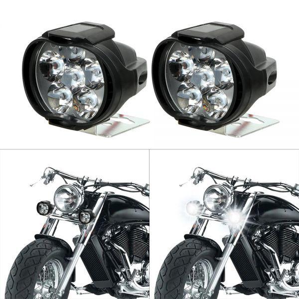 1 ペアオートバイヘッドライト 6500 18k ホワイト超高輝度 6 LED バイクフォグランプ 1200LM LED スポットライト_画像2