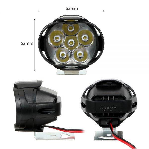 1 ペアオートバイヘッドライト 6500 18k ホワイト超高輝度 6 LED バイクフォグランプ 1200LM LED スポットライト_画像4