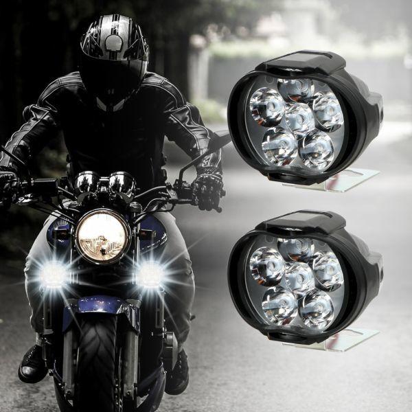 1 ペアオートバイヘッドライト 6500 18k ホワイト超高輝度 6 LED バイクフォグランプ 1200LM LED スポットライト_画像1