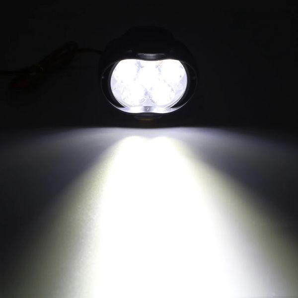 1 ペアオートバイヘッドライト 6500 18k ホワイト超高輝度 6 LED バイクフォグランプ 1200LM LED スポットライト_画像6