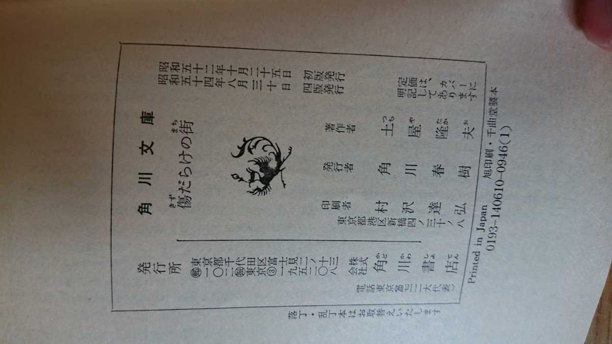 角川文庫 土屋隆夫 傷だらけの街