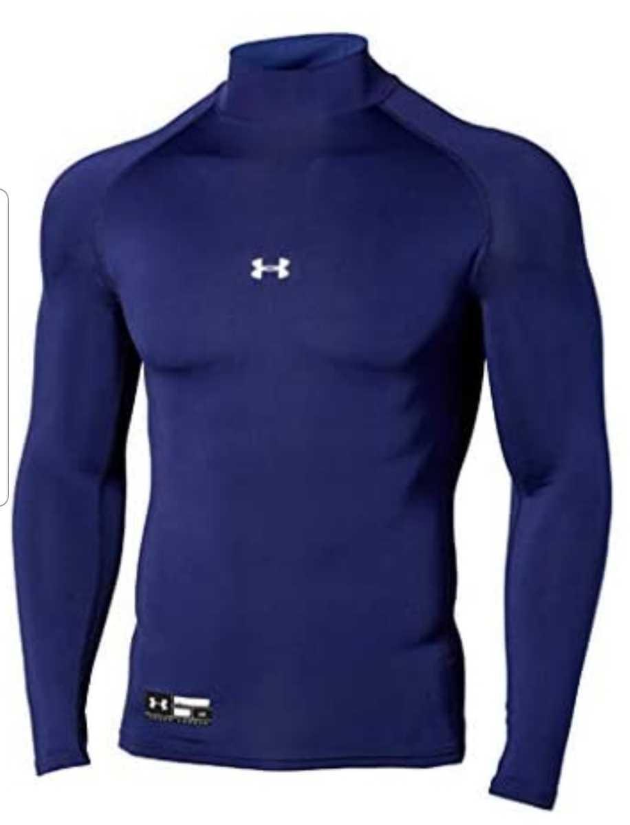 新品UNDER ARMOUR(アンダーアーマー) ヒートギア アーマーコンプレッション長袖クルーシャツ XLサイズ 1343021 947 ネイビー