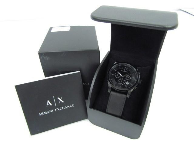 ARMANI EXCHANGE アルマーニエクスチェンジ AX2098 クロノグラフ クォーツ腕時計 レザーベルト♪AC16191