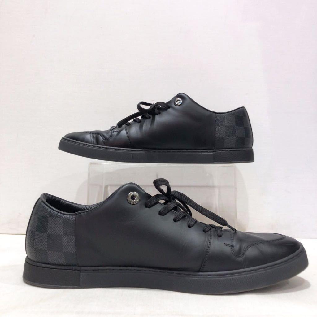 【LOUIS VUITTON】ローカットスニーカー ルイヴィトン ラインアップ ライン ダミエグラフィット レザー 靴 ブラック 黒 9 ts202109_画像3