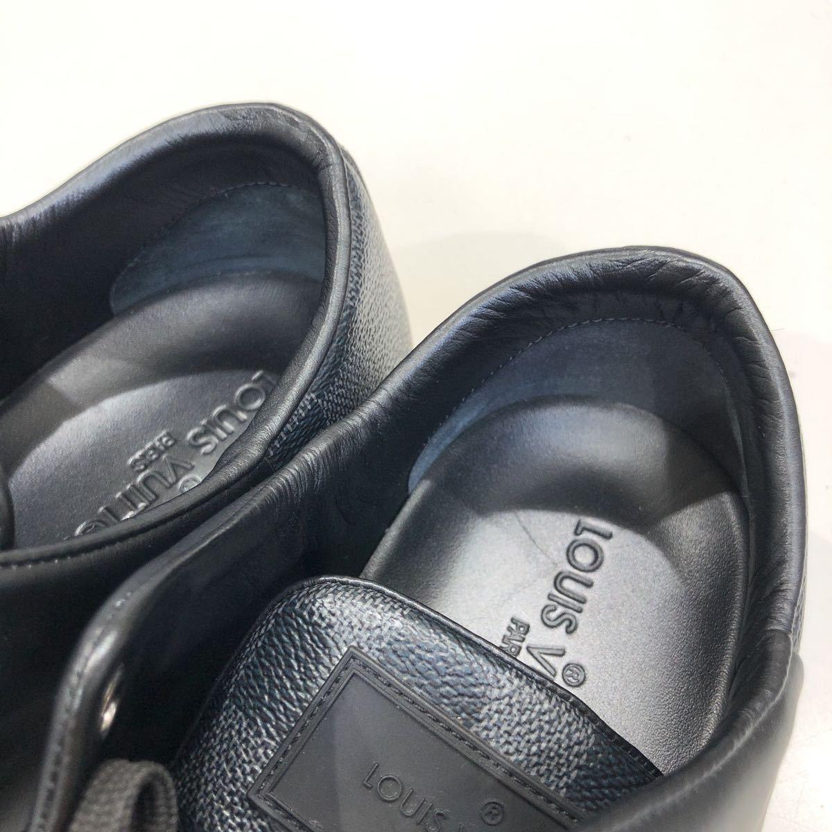 【LOUIS VUITTON】ローカットスニーカー ルイヴィトン ラインアップ ライン ダミエグラフィット レザー 靴 ブラック 黒 9 ts202109_画像8