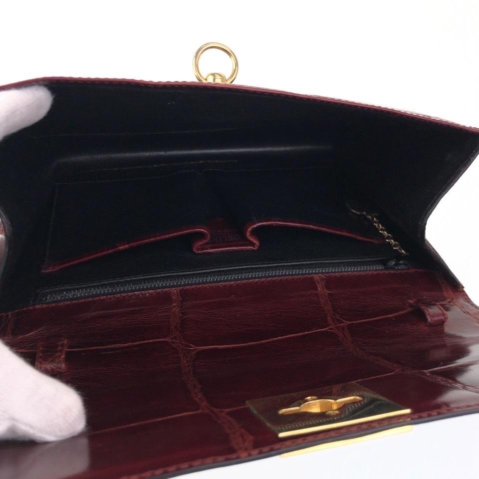 希少 美品 CELINE セリーヌ ヴィンテージ クロコ型押し ゴールド金具 ブラウン ボルドー レザー クラッチバッグ セカンドバッグ 18zr12-2_画像8