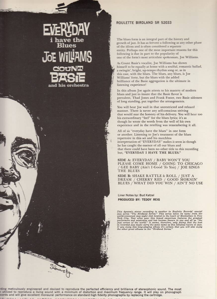 Joe Williams,Count Basie/Everyday I Have the Blues 国内LP新品同様ビッグ・ジョー・ウィリアムズ カウント・ベイシー_画像3