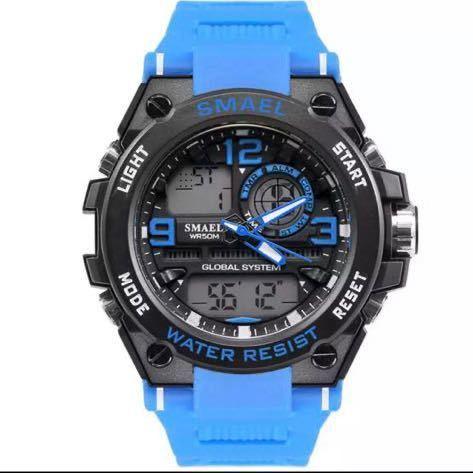 【1円スタート!】最落なし!海外人気ブランド SMAEL S-SHOCK stylish メンズ高品質腕時計 防水 アナログ&デジタル ライトブルー♪人気1_画像1