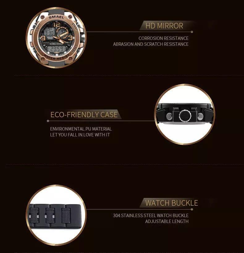 【1円スタート!】最落なし!海外人気ブランド SMAEL S-SHOCK stylish メンズ高品質腕時計 防水 アナログ&デジタル ライトブルー♪人気1_画像8