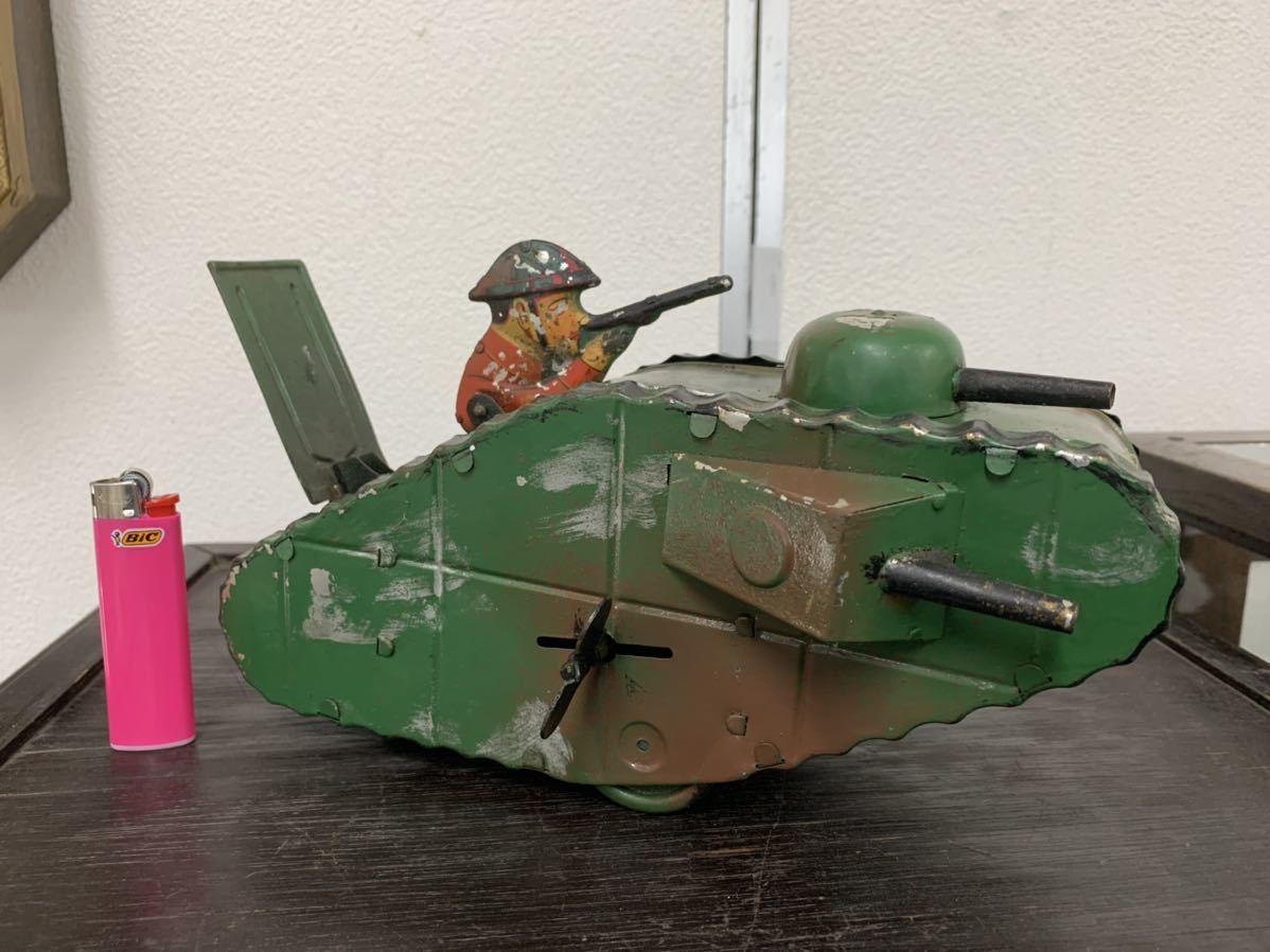 戦前 日本製 ブリキ 戦車 マスダヤ ぜんまい おもちゃ 玩具 乗り物 車 オートバイ バイク 自転車