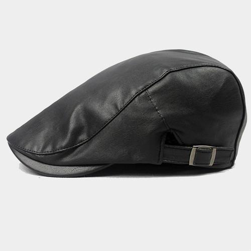 【新品】 黒 ハンチング帽 帽子 ベレー帽 旅行 ゴルフ 自転車 男女 散歩 出かけ 皮質 アウトドア キャスケット 55-60cm zwxa 077_画像1