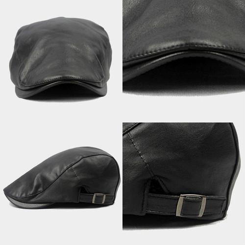 【新品】 黒 ハンチング帽 帽子 ベレー帽 旅行 ゴルフ 自転車 男女 散歩 出かけ 皮質 アウトドア キャスケット 55-60cm zwxa 077_画像6
