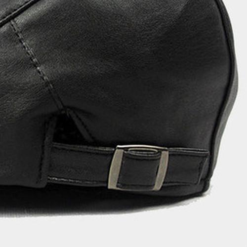 【新品】 黒 ハンチング帽 帽子 ベレー帽 旅行 ゴルフ 自転車 男女 散歩 出かけ 皮質 アウトドア キャスケット 55-60cm zwxa 077_画像3