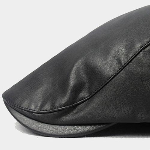 【新品】 黒 ハンチング帽 帽子 ベレー帽 旅行 ゴルフ 自転車 男女 散歩 出かけ 皮質 アウトドア キャスケット 55-60cm zwxa 077_画像9