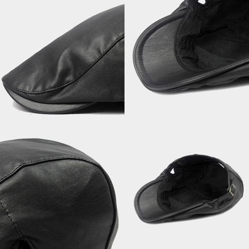 【新品】 黒 ハンチング帽 帽子 ベレー帽 旅行 ゴルフ 自転車 男女 散歩 出かけ 皮質 アウトドア キャスケット 55-60cm zwxa 077_画像7