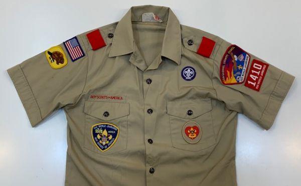 H4028 BOY SCOUTS OF AMERICA ボーイスカウトオブアメリカ BSA 半袖シャツ ボーイスカウトシャツ MADE IN USA ベージュ SM_画像3