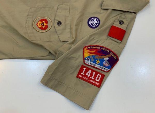H4028 BOY SCOUTS OF AMERICA ボーイスカウトオブアメリカ BSA 半袖シャツ ボーイスカウトシャツ MADE IN USA ベージュ SM_画像7
