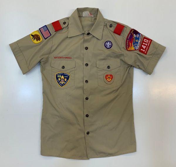 H4028 BOY SCOUTS OF AMERICA ボーイスカウトオブアメリカ BSA 半袖シャツ ボーイスカウトシャツ MADE IN USA ベージュ SM_画像1