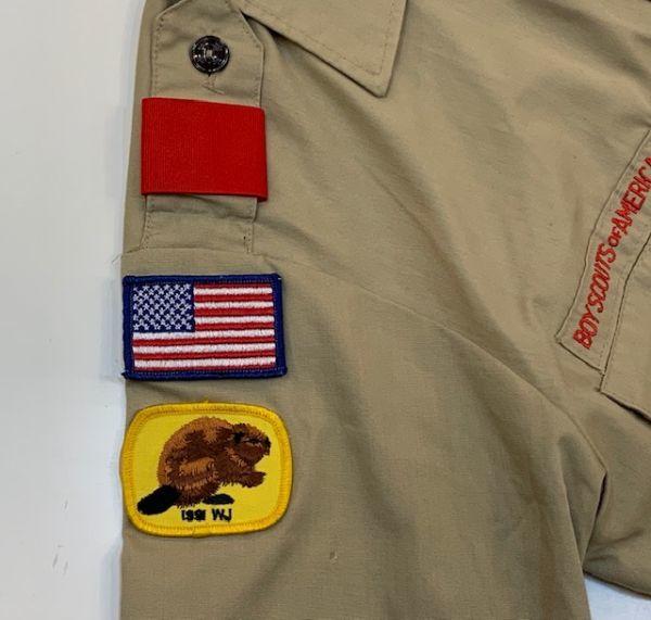 H4028 BOY SCOUTS OF AMERICA ボーイスカウトオブアメリカ BSA 半袖シャツ ボーイスカウトシャツ MADE IN USA ベージュ SM_画像6