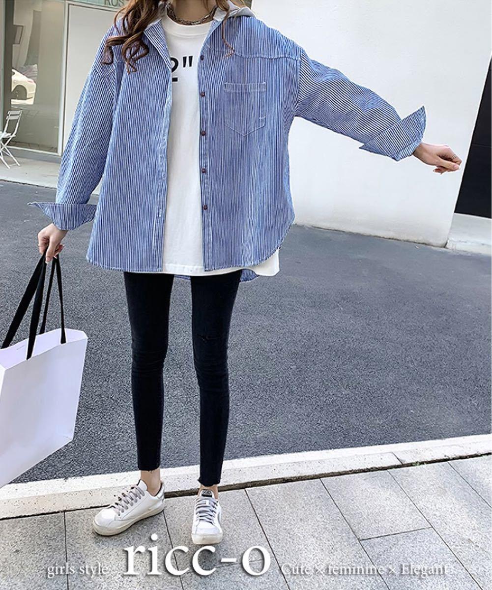 オーバーシャツ 3XLサイズ フード付き ストライプ ゆったり カジュアル 春夏