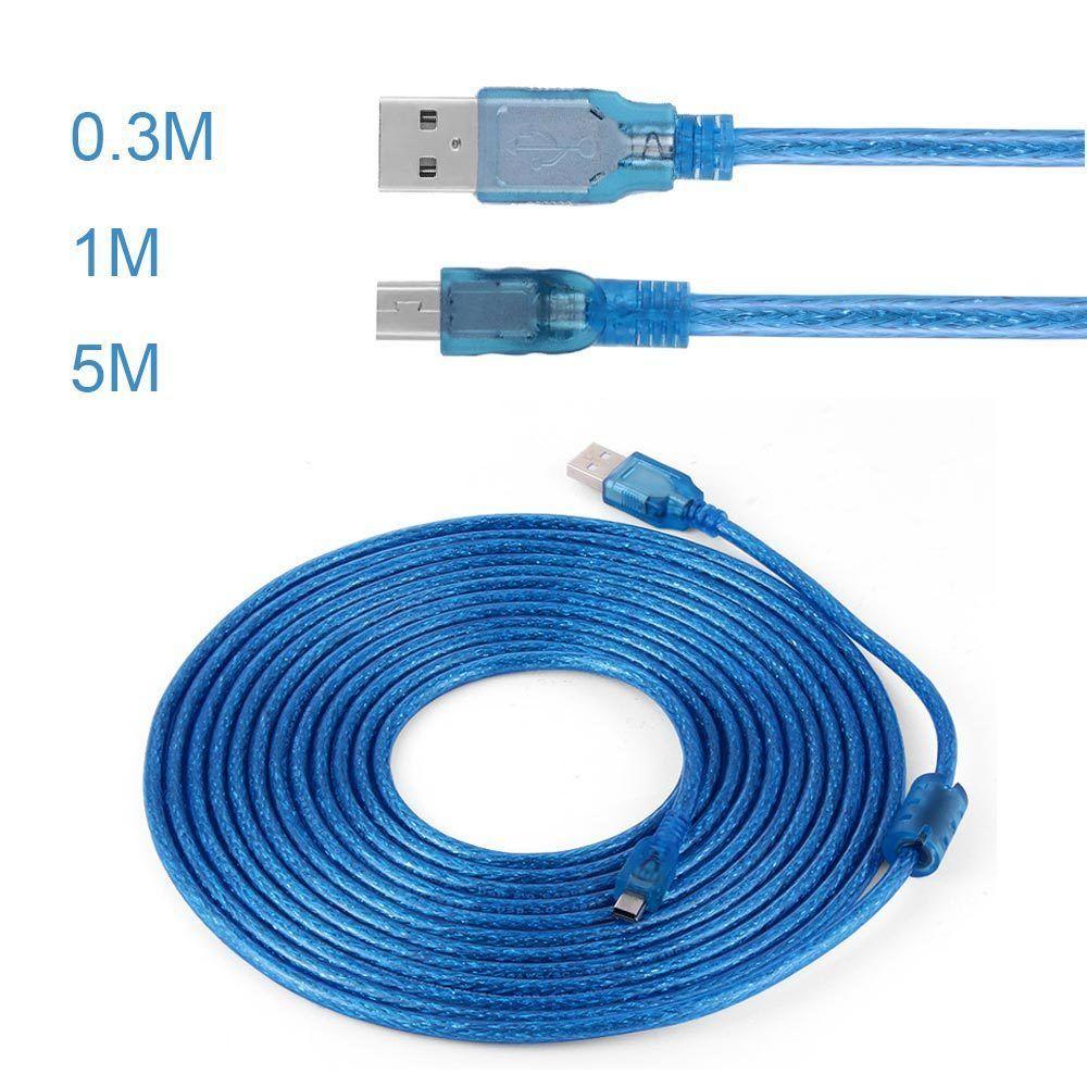 高品質 編組シールド USBケーブル A-B フェライトコア付 USB2.0  5m