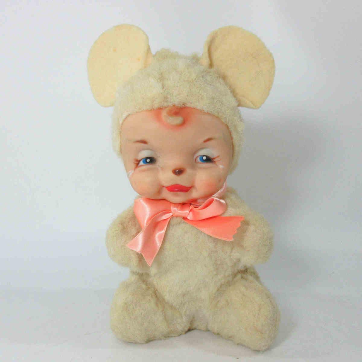 ★Rushton ラシュトン 泣き虫ベアマウス 17㎝ ラバーフェイス ぬいぐるみ 人形 クライングベアマウス ねずみ ヴィンテージ g76