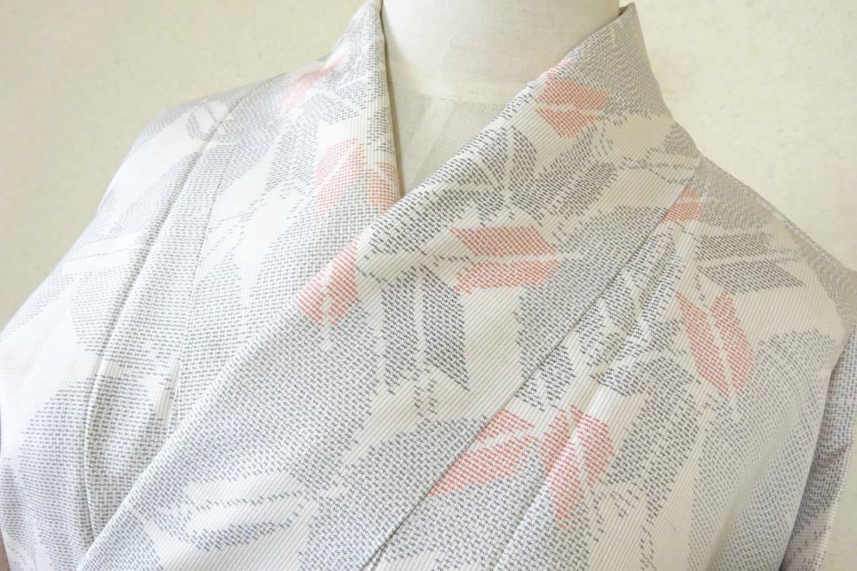 (4)着物 大島紬 白大島 矢模様 和服 和装_画像3