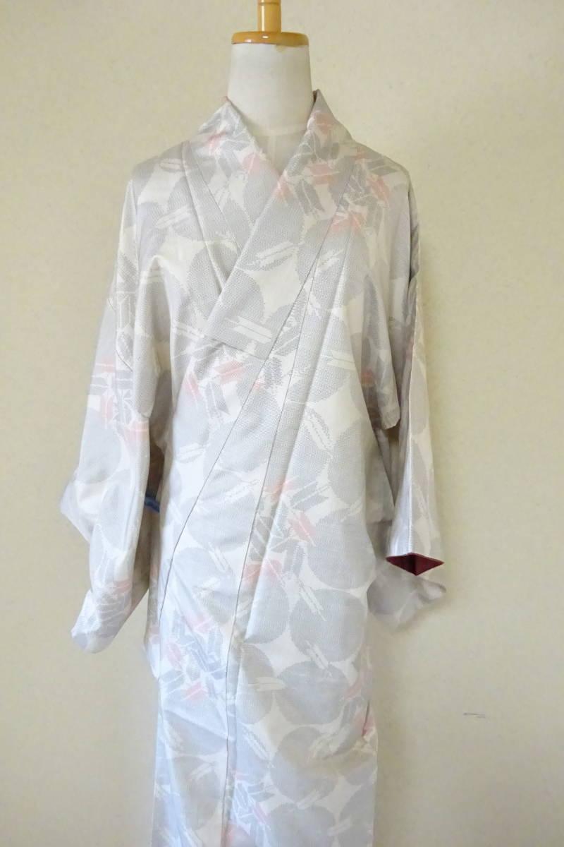 (4)着物 大島紬 白大島 矢模様 和服 和装_画像1
