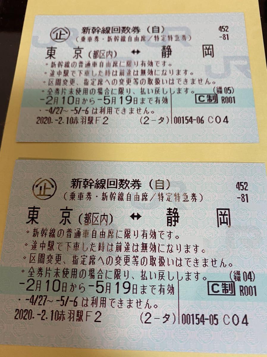 【格安】(即決あり)新幹線回数券(東京都区内-静岡 自由席)_画像2