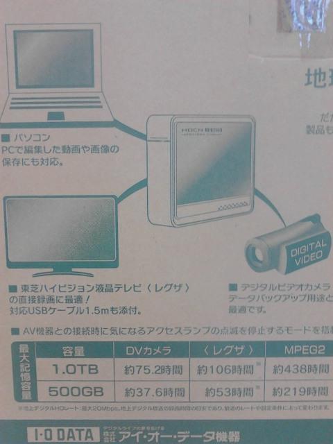 I・Oデータ/500GB外付けハードディスク/windows/mac/REGZA/送料込み