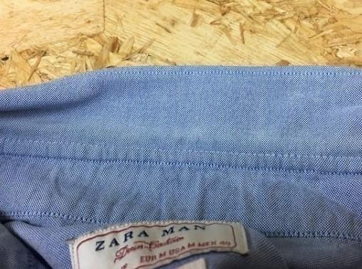 ZARA MAN ザラマン Mサイズ メンズ シャツ B.D. ボタンダウン 『ASIAN FIT』 長袖 胸にスカル刺繍 ドクロ ライトブルー 薄青_画像3