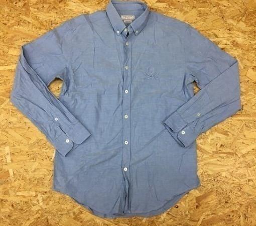 ZARA MAN ザラマン Mサイズ メンズ シャツ B.D. ボタンダウン 『ASIAN FIT』 長袖 胸にスカル刺繍 ドクロ ライトブルー 薄青_画像1