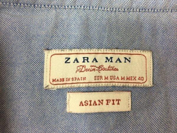 ZARA MAN ザラマン Mサイズ メンズ シャツ B.D. ボタンダウン 『ASIAN FIT』 長袖 胸にスカル刺繍 ドクロ ライトブルー 薄青_画像2
