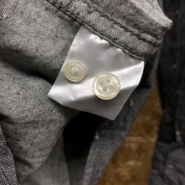 GLOBAL WORK グローバルワーク S メンズ シャツ 大きめネップ 胸ポケット 長袖 レギュラーカラー 綿100% 紺×白×茶 (グレーに見えます)_画像5