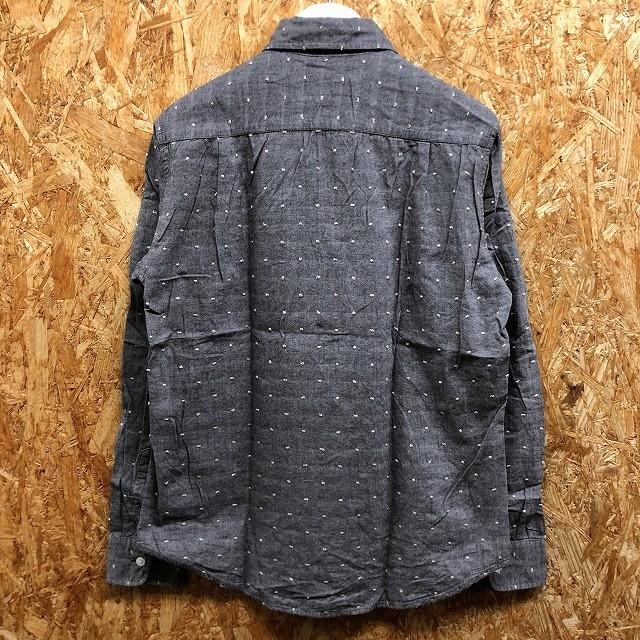 GLOBAL WORK グローバルワーク S メンズ シャツ 大きめネップ 胸ポケット 長袖 レギュラーカラー 綿100% 紺×白×茶 (グレーに見えます)_画像6