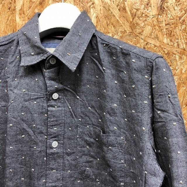 GLOBAL WORK グローバルワーク S メンズ シャツ 大きめネップ 胸ポケット 長袖 レギュラーカラー 綿100% 紺×白×茶 (グレーに見えます)_画像3