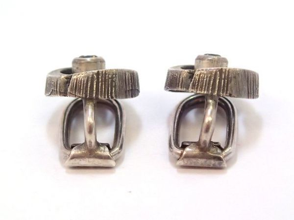 北欧 フィンランド製 1970年代 Sten & Laine スカンジナビア モダン デザイナー シルバー製 ロック クリスタル クリップ イヤリング /13287_画像3
