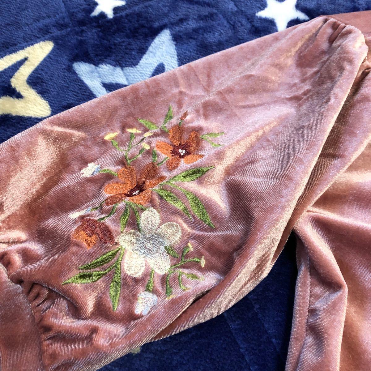 秋冬 トップス  ピンク 花柄刺繍 ベロア素材  カットソー