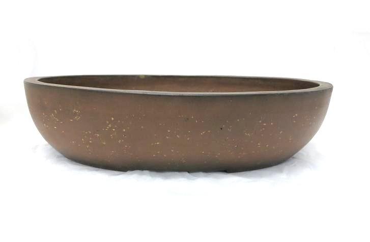 1259 (中古) 盆栽鉢 古渡梨皮紅泥切立楕円 楕円鉢_画像1