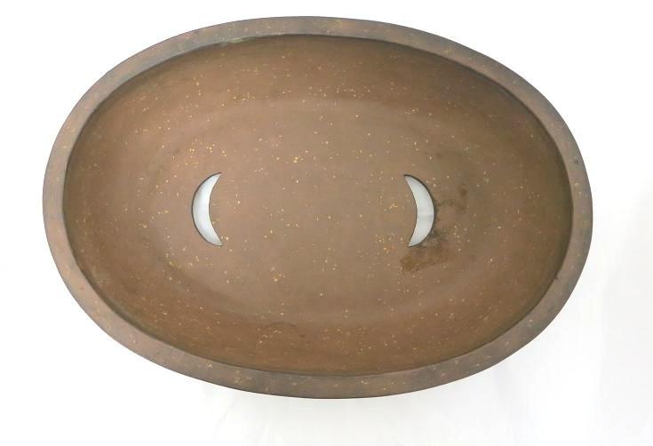 1259 (中古) 盆栽鉢 古渡梨皮紅泥切立楕円 楕円鉢_画像2