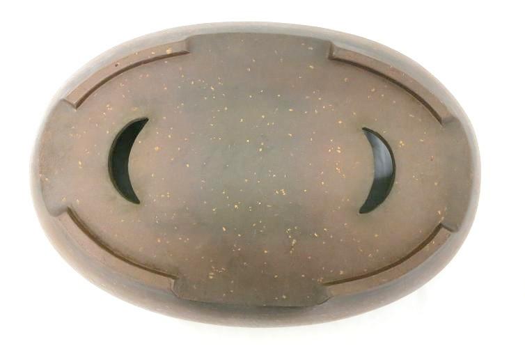 1259 (中古) 盆栽鉢 古渡梨皮紅泥切立楕円 楕円鉢_画像3