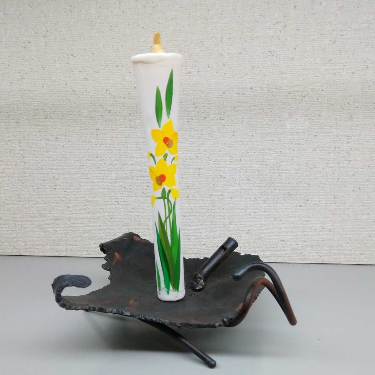 [Kadate, candle stand] metal with one Japanese candle with a picture, free shipping as long as one new!