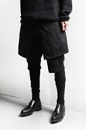 個性的 モード系 レギンス付き レイヤードパンツ 黒 オシャレ 短パン unisex バンド系 サルエルパンツ ボトムス 男女兼用 ストリートモード