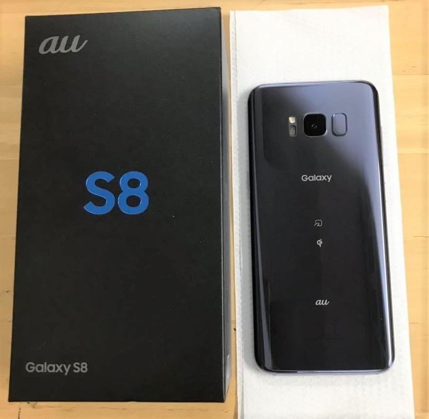 1円~ 送料無料 Galaxy S8 SCV36 オーキッドグレー au SIMロック解除済み 箱付 良品