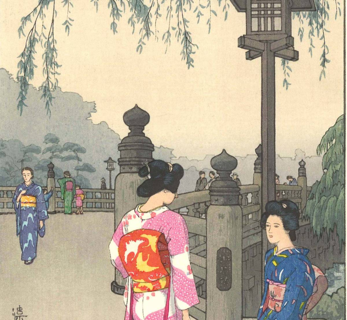 吉田遠志 木版画  014103 弁慶橋 (Benkei Bridge)  初摺1941年    最高峰の摺師の技をご堪能下さい!!_画像6