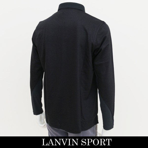 新品 定価2.1万円 ランバン スポール 長袖 ニット ポロ シャツ 黒 L 40 ブラック LANVIN SPORT ジャージー ゴルフウェア 吸水速乾_画像2