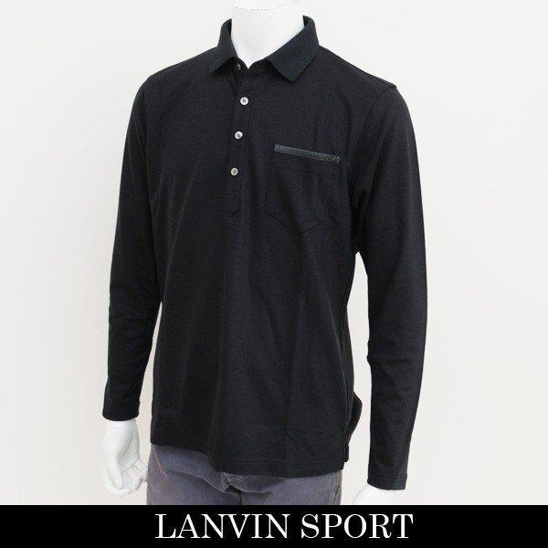 新品 定価2.1万円 ランバン スポール 長袖 ニット ポロ シャツ 黒 L 40 ブラック LANVIN SPORT ジャージー ゴルフウェア 吸水速乾_画像1